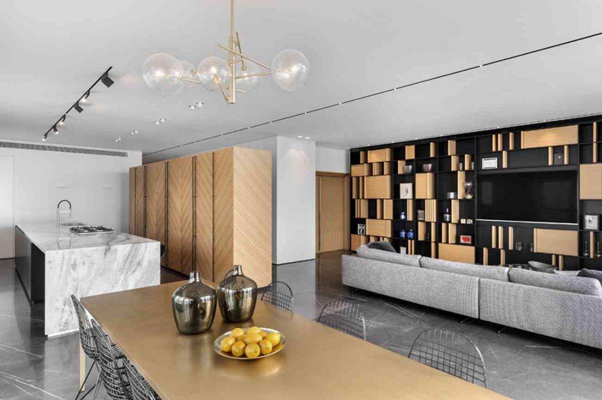 Vista – Netanya מבט מפינת הדירה על כל גופי התאורה בעיצובו של קמחי תאורה