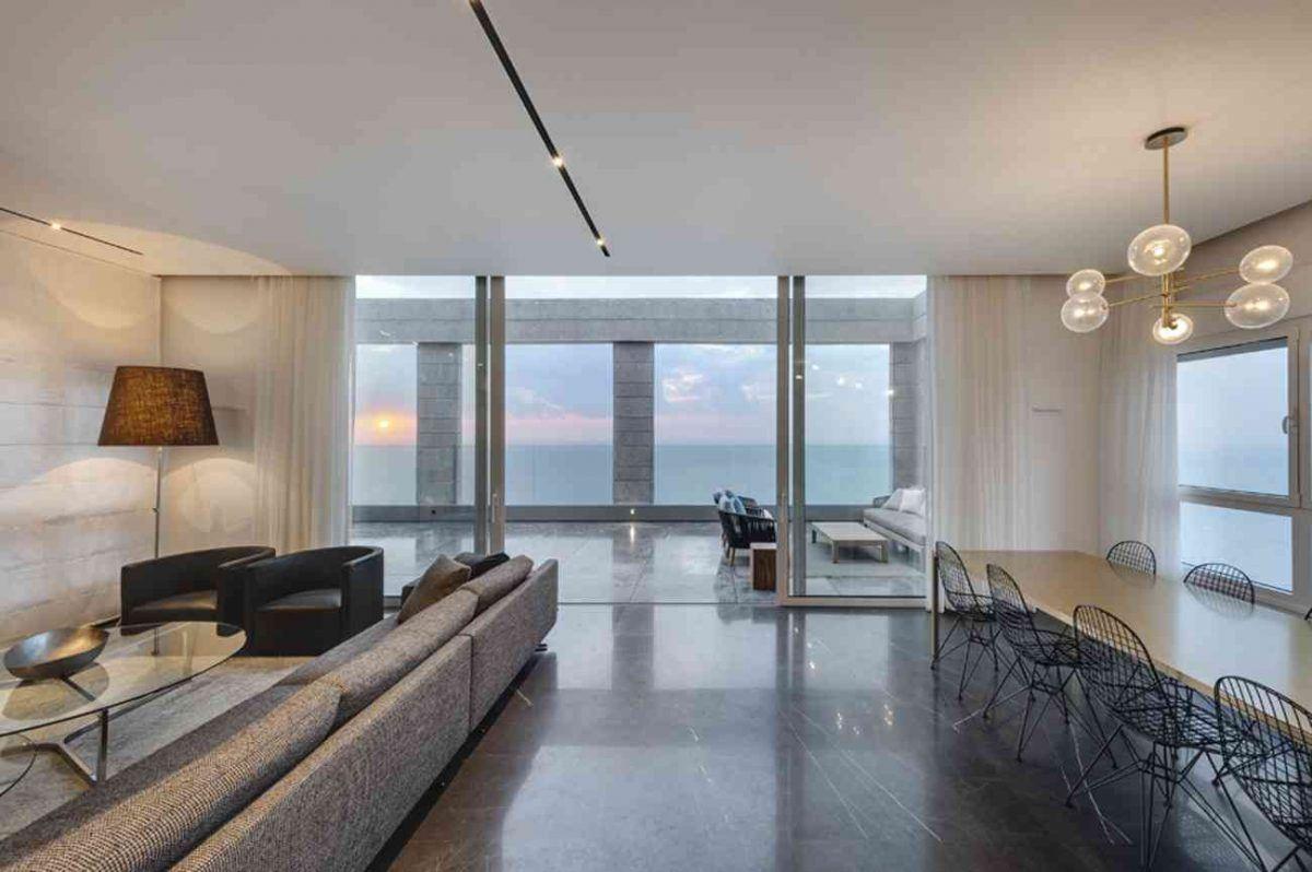 Vista – Netanya תאורה מיוחדת בשטח הסלון נעשה על ידי קמחי תאורה