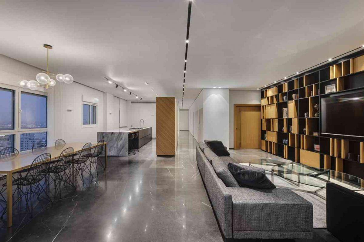 Vista – Netanya גופי התאורה מאירים את כל מרחב הדירה בעיצוב של קמחי תאורה
