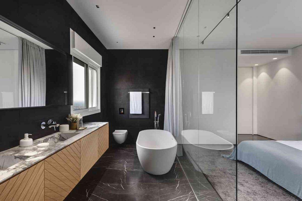 Vista – Netanya תאורה מותקנת בחדר האמבטיה בתכנון קמחי תאורה