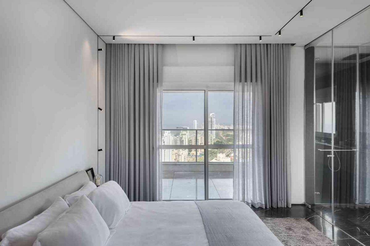 Vista – Netanya קירות חדר השינה בגופי תאורה מיוחדים נעשה על ידי קמחי תאורה
