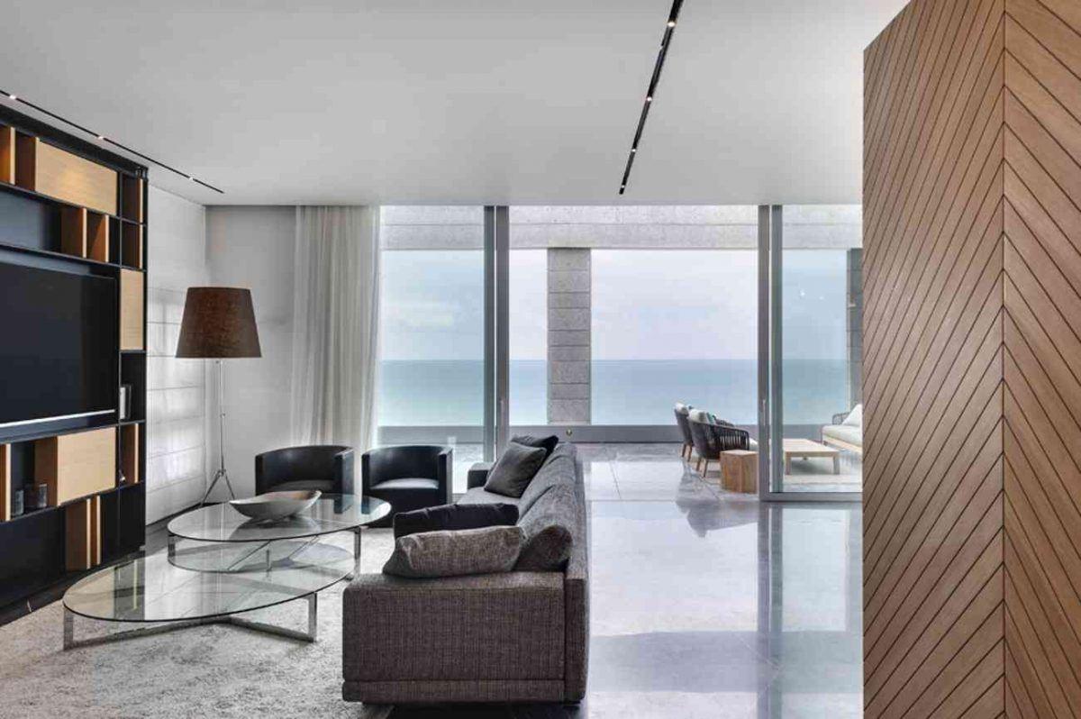 Vista – Netanya עיצובי תאורה בתקרת הסלון נעשה על ידי קמחי תאורה