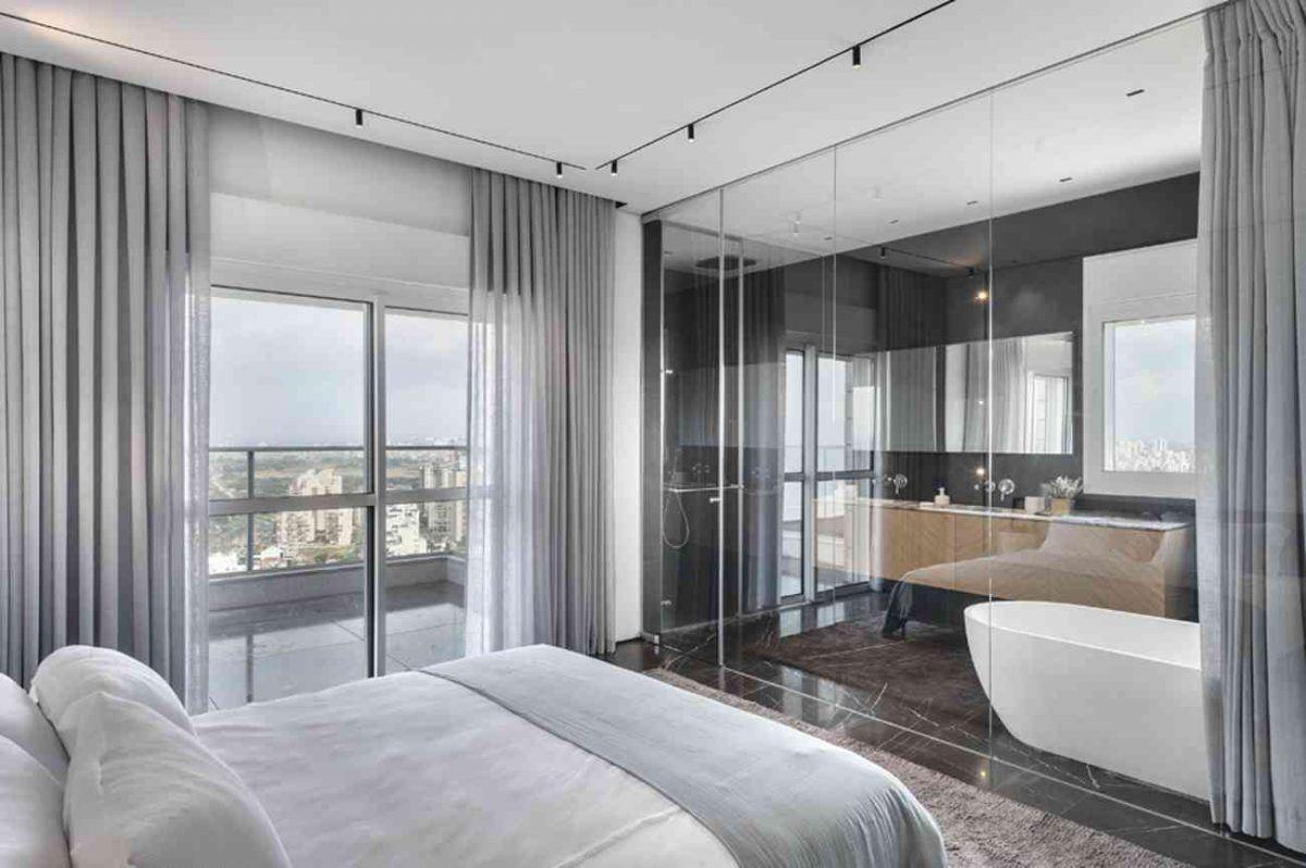 Vista – Netanya תקרת חדר השינה עם גופי תאורה בתכנון קמחי תאורה