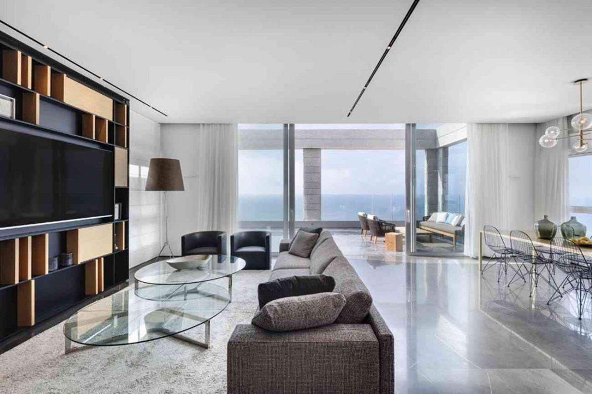 Vista – Netanya תאורות בעיצוב מיוחד בשטח הסלון בתכנון קמחי תאורה