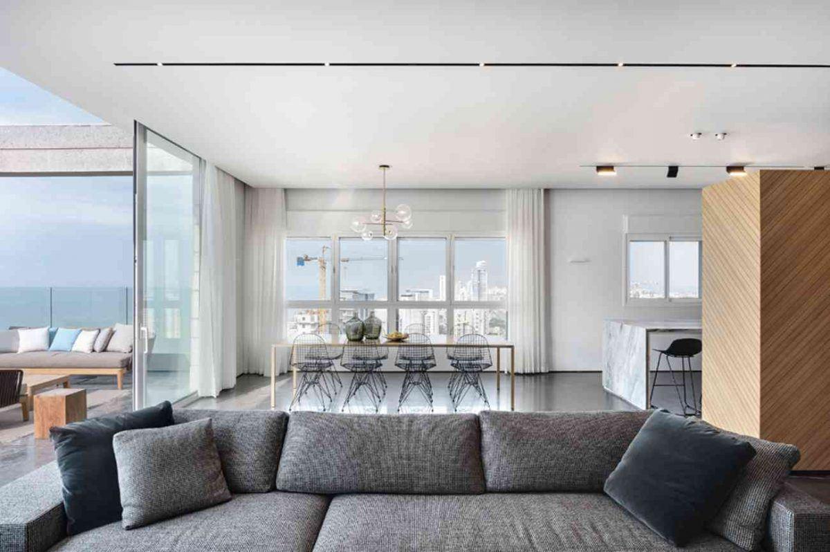 Vista – Netanya תכנון גופי התאורה בעיצוב מבט מתוך הסלון על ידי קמחי תאורה