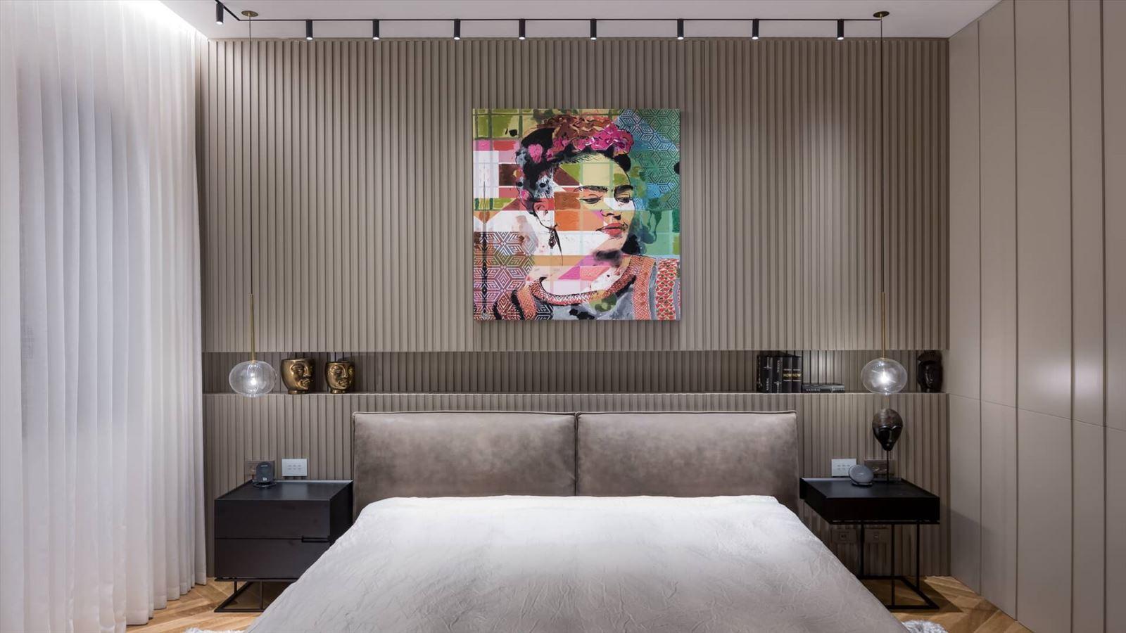 Penthouse Carmelit - תאורה אדריכלית מעוצבת בחדר השינה