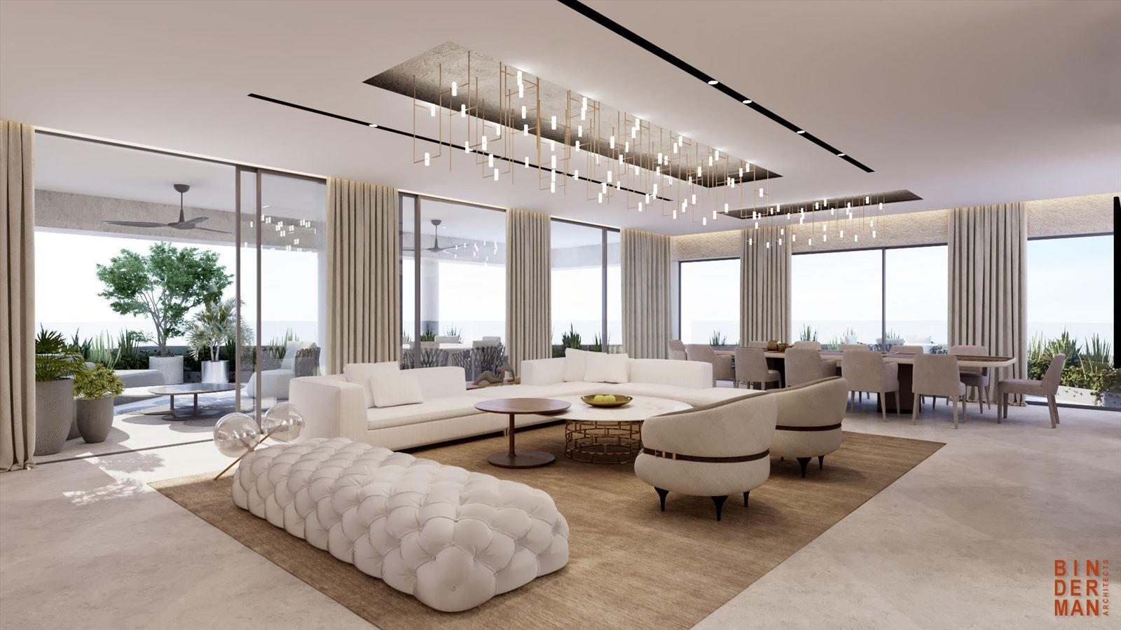 פרויקט הדמיה של בית פרטי -  הדמיית תאורה בסלון עם גופי התאורה של דורי קמחי